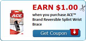 Earn $1.00 when you purchase ACE™ Brand Reversible Splint Wrist Brace